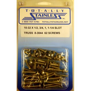 """Totally Stainless 10-32x1/2, 3/4, 1 & 1-1/4"""" Stainless Slotted Truss Head Machine Screws"""
