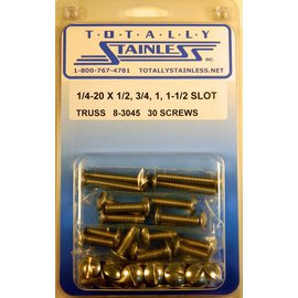 Totally Stainless 1/4-20 x 1/2, 3/4, 1, 1-1/2 Stainless Slotted Truss Head Machine Screws
