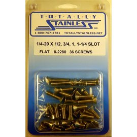 Totally Stainless 1/4-20 x 1/2, 3/4, 1-1/4 Slotted Flat Head Machine Screws (B2) - Panel 10 - #8-2280