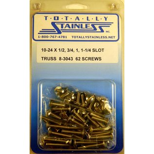 """Totally Stainless 10-24x1/2, 3/4, 1 &1-1/4"""" Stainless Slotted Truss Head Machine Screws"""