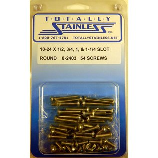 "Totally Stainless 10-24 x1/2, 3/4,1 & 1-1/4"" Stainless Slotted Round Head Machine Screws"