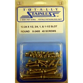 Totally Stainless 12-24 x1/2, 3/4, 1, 1-1/2 Slotted Round Head Machine Screws (F3) - Panel 10 - #8-2405