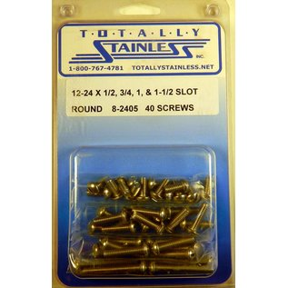 "Totally Stainless 12-24 x1/2, 3/4, 1& 1-1/2"" Stainless Slotted Round Head Machine Screws"