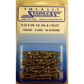 Totally Stainless 8-32 x 3/8, 1/2, 3/4,1 Slotted Round Head Machine Screws (A1) - Panel 10 - #8-2402