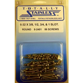 "Totally Stainless 6-32 x 3/8, 1/2, 3/4 & 1"" Stainless Slotted Round Head Machine Screws"