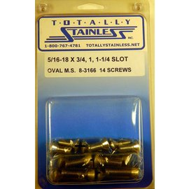 "Totally Stainless 5/16-18 x 3/4, 1 & 1-1/4"" Stainless Slotted Oval Head Machine Screws"
