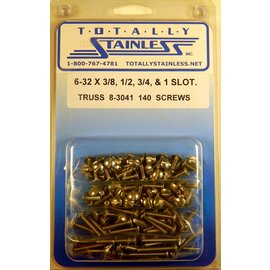 "Totally Stainless 6-32 x 3/8, 1/2, 3/4 & 1"" Stainless Slotted Truss Head Machine Screws"