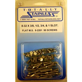"Totally Stainless 8=32 x 3/8, 1/2, 3/4 & 1"" Stainless Slotted Flat Head Machine Screws"