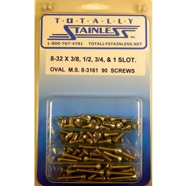 """Totally Stainless 8-32 x 3/8, 1/2, 3/4 & 1"""" Stainless Slotted Oval Head Machine Screws"""