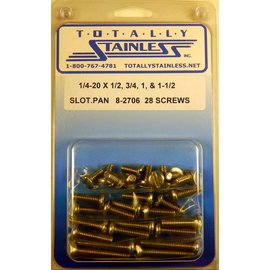 "Totally Stainless 1/4 - 20 x 1/2, 3/4, 1 & 1-1/2"" Stainless Slotted Pan Head Machine Screws"