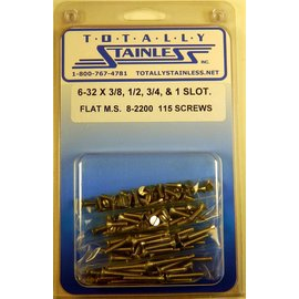 "Totally Stainless 6-32 x 3/8, 1/2, 3/4 & 1"" Stainless Slotted Flat Head Machine Screws"