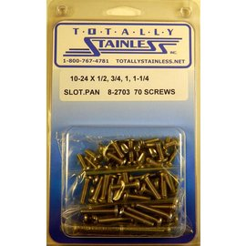 Totally Stainless 10-24 x 1/2,3/4,1, 1-1/4 Slotted Pan Head Machine Screws(B5) - Panel 10 - #8-2703