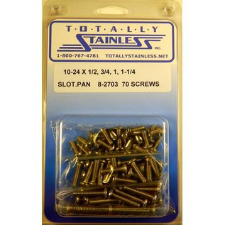 "Totally Stainless 10-24 x 1/2,3/4,1 & 1-1/4"" Stainless Slotted Pan Head Machine Screws"