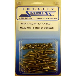 "Totally Stainless 10-24 x1/2, 3/4 & 1-1/4"" Stainless Slotted Oval Head Machine Screws"