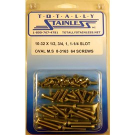 "Totally Stainless 10-32 x1/2, 3/4 & 1-1/4"" Stainless Slotted Oval Head Machine Screws"