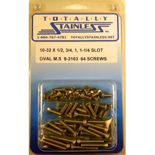 """Totally Stainless 10-32 x1/2, 3/4 & 1-1/4"""" Stainless Slotted Oval Head Machine Screws"""