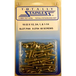 Totally Stainless 10-32 x 1/2,3/4,1, 1-1/4 Slotted Pan Head Machine Screws(C1) - Panel 10 - #8-2704