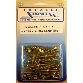 "Totally Stainless 10-32 x 1/2,3/4,1 & 1-1/4"" Stainless Slotted Pan Head Machine Screws"