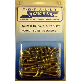 "Totally Stainless 1/4-20 x 1/2, 3/4, 1 & 1-1/2"" Stainless Slotted Round Head Machine Screws"