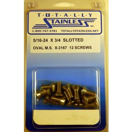 "Totally Stainless 5/16-24 x 3/4"" Stainless Slotted Oval Head Machine Screws"