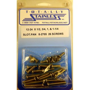 "Totally Stainless 12-24 x 1/2,3/4,1 & 1-1/2"" Stainless Slotted Pan Head Machine Screws"