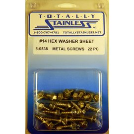 "Totally Stainless #14 x 1/2"" Stainless Indented Hex Washer Head Sheet Metal Screws"