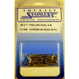 "Totally Stainless #8 x 1"" Stainless Phillips Oval Jackson Head Sheet Metal Screws #6 Head"