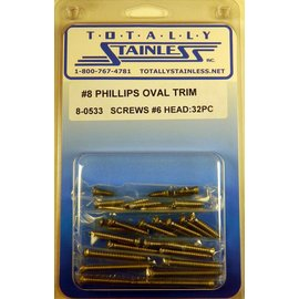 Totally Stainless #8 Stainless Phillips Oval Jackson Head Sheet Metal Screws #6 Head