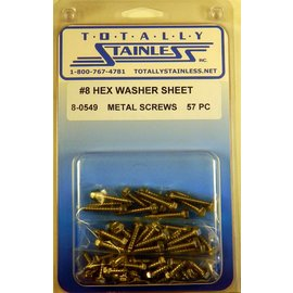 Totally Stainless #8 Indented Hex Washer Head Sheet Metal Screws (F2) - Panel 11 - #8-0549