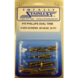 Totally Stainless #10 Stainless Phillips Oval Jackson Head Sheet Metal Screws W/ #8 Head