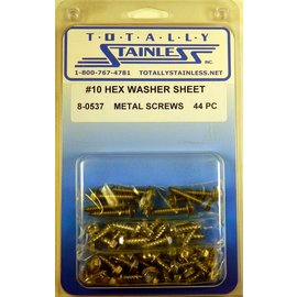 Totally Stainless #10 Stainless Indented Hex Washer Head Sheet Metal Screws