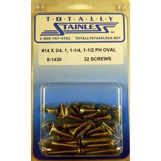 Totally Stainless #14 Stainless Phillips Oval Head Sheet Metal Screws