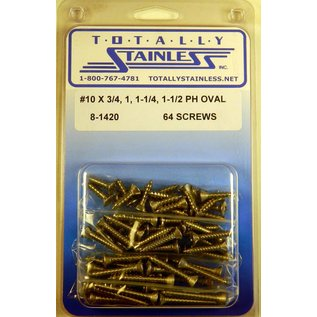 Totally Stainless #10 Stainless Phillips Oval Head Sheet Metal Screws