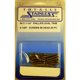 "Totally Stainless #8 x 1-1/4"" Stainless Phillips Oval Jackson Head Sheet Metal Screws W/ #6 Head"