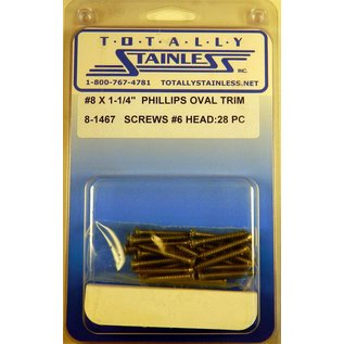 """Totally Stainless #8 x 1-1/4"""" Stainless Phillips Oval Jackson Head Sheet Metal Screws W/ #6 Head Ast"""