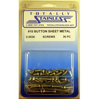 Totally Stainless #10 Stainless Button Head Allen Sheet Metal Screws