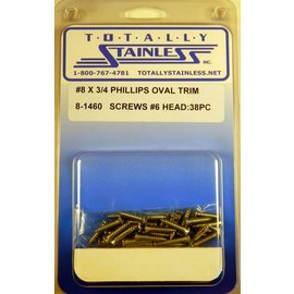 "Totally Stainless #8 x 3/4"" Stainless Phillips Oval Jackson Head Sheet Metal Screws W/ #6 Head"