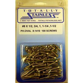 Totally Stainless #8 Stainless Phillips Oval Head Sheet Metal Screws