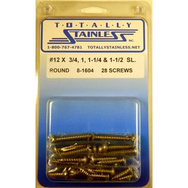 Totally Stainless #12 Slotted Round Head Sheet Metal Screws  (G1) - Panel 12 - #8-1604
