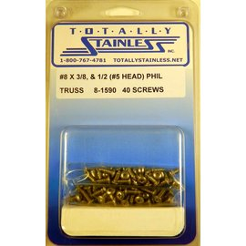 Totally Stainless #8 Stainless Phillips Truss Head Sheet Metal Screws W/ #5 Head