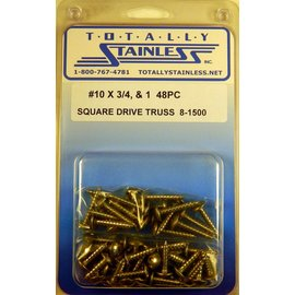 Totally Stainless #10 Square Drive Truss Head Sheet Metal Screws (B2) - Panel 12 - #8-1500