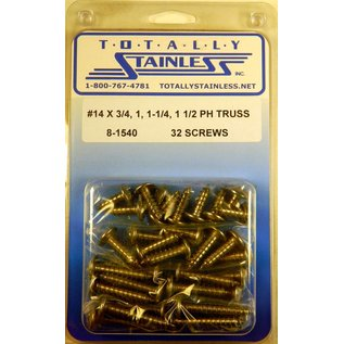 Totally Stainless #14 Stainless Phillips Truss Head Sheet Metal Screws