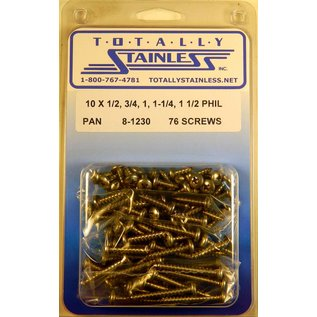 Totally Stainless #10 Stainless Phillips Pan Head Sheet Metal Screws