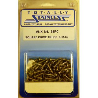 Totally Stainless #8 Square Drive Truss Head Sheet Metal Screws  (B1) - Panel 12 - #8-1514