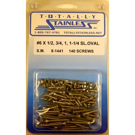 Totally Stainless #6 Stainless Slotted Oval Head Sheet Metal Screws
