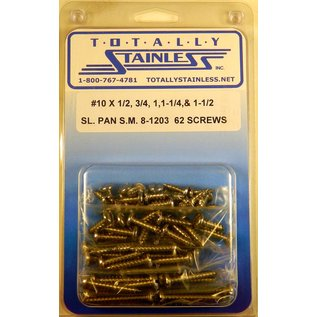 Totally Stainless #10 StainlesssSlotted Pan Head Sheet Metal Screws
