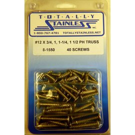 Totally Stainless #12 Phillips Truss Head Sheet Metal Screws  (A4) - Panel 12 - #8-1550