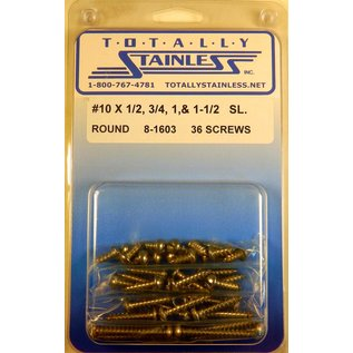 Totally Stainless #10 Stainless Slotted Round Head Sheet Metal Screws