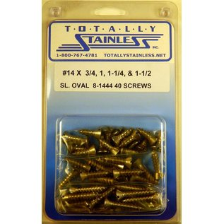 Totally Stainless #14 Slotted Oval Head Sheet Metal Screws  (F2) - Panel 12 - #8-1444