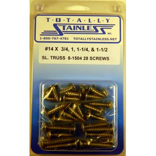 Totally Stainless #14 Slotted Truss Head Sheet Metal Screws  (G5) - Panel 12 - #8-1504